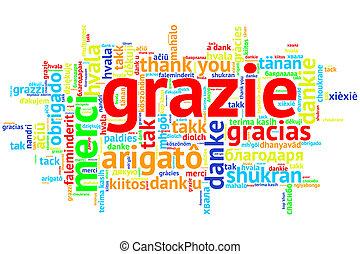 Italian - Grazie, Open Word Cloud, Thanks, on white - Focus...