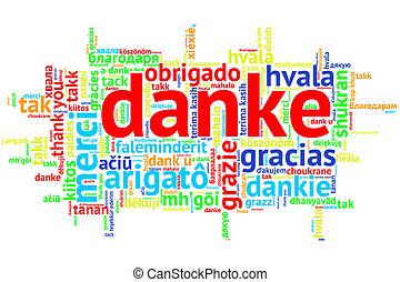 German Danke, Open Word Cloud, Thanks, on white - Focus on...