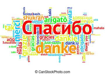 Russian Spasiba, Open Word Cloud, Thanks, on white - Focus...