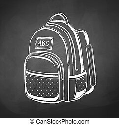 Chalkboard drawing of school bag