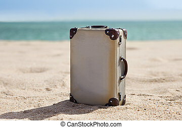 Old Suitcase On Beach - Retro Miniature Old Suitcase On...