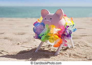 Piggy Bank With Garland - Piggy Bank With Colorful Garland...
