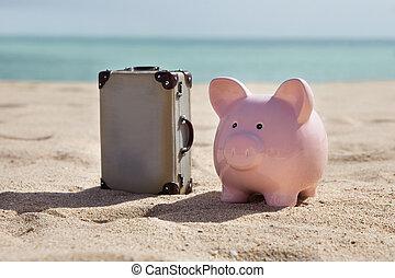 maleta, y, cerdito, Banco,