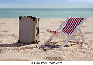 Deckchair, con, maleta,