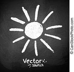 Chalked childlike drawing of sun. Vector illustration....