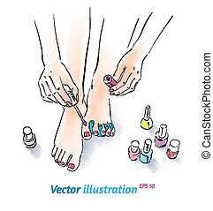 Home pedicure. Vector illustration with watercolor texture.