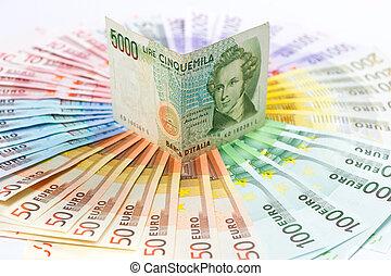 Euro, crisis, concept., viejo, italiano, lire,