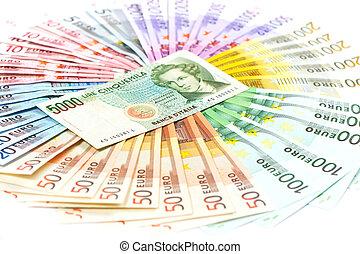 viejo, notas, efectivo,  Euro, encima,  lire, italiano