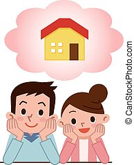 Good friend couple to think - Vector illustration.