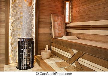 Sauna interior - Modern finnish wooden sauna interior view