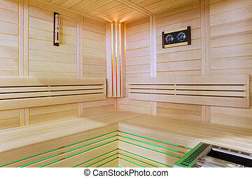 Sauna interior - Modern finnish wooden sauna interior view