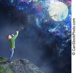 Child watching the moon - Child fascinated watching the moon...