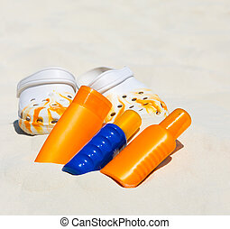 beach accessories. tropical holiday background