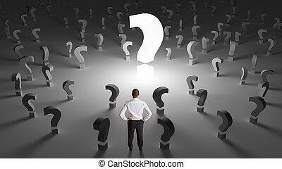 Businessman with many questions - Worried businessman with...