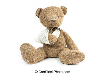 bear broken arm - cute teddy bear with a broken arm in a...