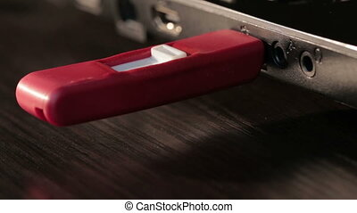 Computer USB flash drive disk melt by high temperature -...