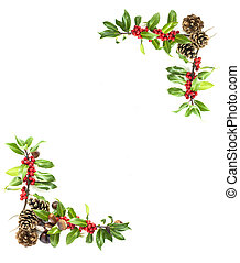 holly and red berries border - christmas winter holly and...