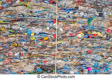 PHUKET, THAILAND - MARCH 3 : Crushed plastic bottles at a...