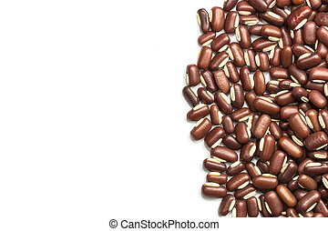 Close up red beans isolated on white background