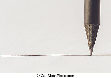 Black pencil with stroke - Close up Black pencil with stroke...
