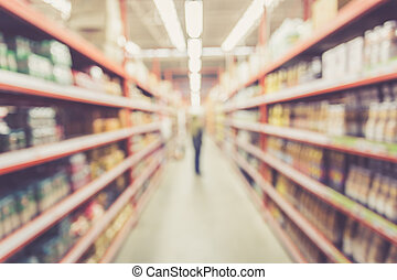 Blurred background : Thai people shoping in Supermarket...