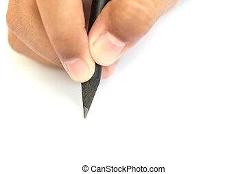 Hand holding black pencil - Close up Hand holding black...