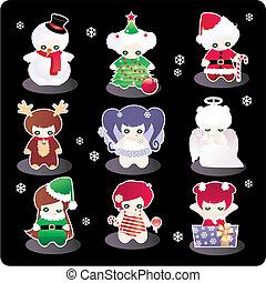 Funny Christmas characters - set of Funny Christmas...