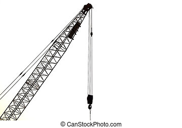 Silhouette od crane isolated on white background