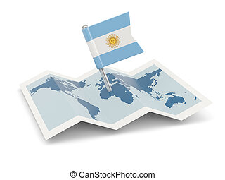 Map with flag of argentina