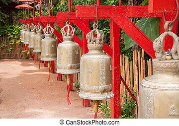 Bells in Wat Phan Tao, Chiang Mai, Thailand - Buddhist bells...