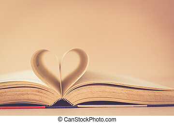 Book with heart sign - Close up Book with heart sign,...