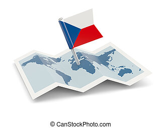 Map with flag of czech republic isolated on white
