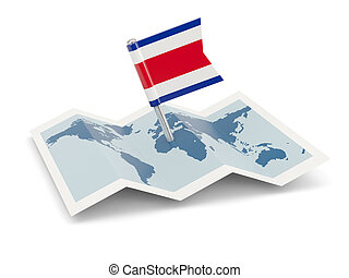 Map with flag of costa rica
