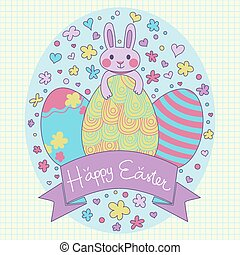 Easter Bunny and Cute Easter Eggs