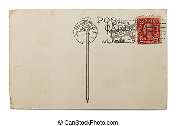 Airmail - Blank Postcard with Airmail Postmark Isolated on...
