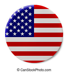 USA Flag Badge - Round Pin With United States Flag Isolated...