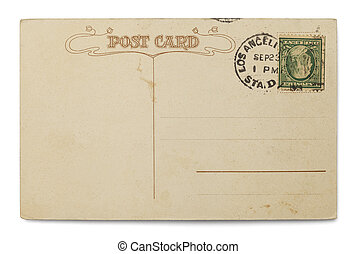 Antique Postcard - Stamped Postcard with Copyspace Isolated...