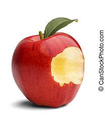 manzana, mordedura,