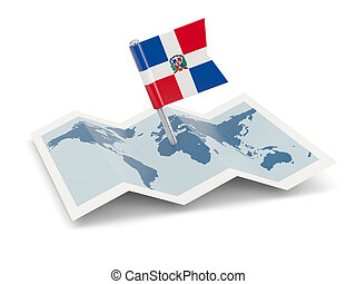 Map with flag of dominican republic
