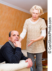 couple being reconciled after argue - Adult family being...