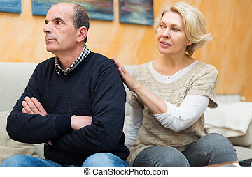 Wife asking husband for forgiveness - Guilty senior wife...