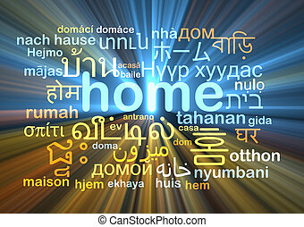 home multilanguage wordcloud background concept glowing -...