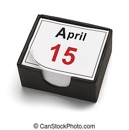 April 15 - Tax Day Calendar Isolated on White Background