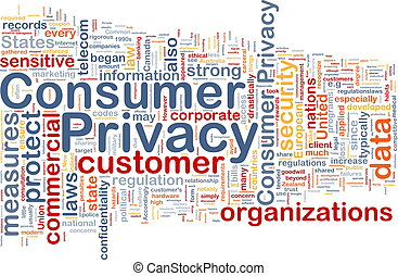 Consumer privacy background concept wordcloud