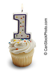 Baby Birthday Cupcake - Cupcake with a Number One Candle...