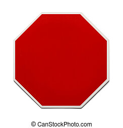 Blank Stop Sign - Red Traffic Sign with Copy Space Isolated...