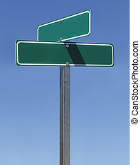 Blank Street Sign - Two Green Street Signs on Metal Pole...
