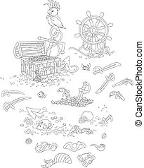 Pirate set - Vector illustrations of a treasure chest, an...