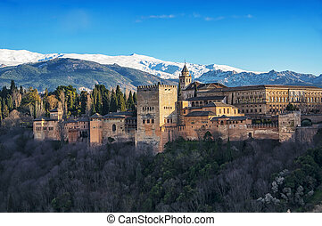 Aerial view of Alhambra Palace in Granada
