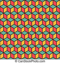 creative cube block pattern background design vector
